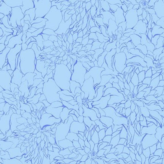Blue Tonal Floral Fabric, Ashleighs Garden For Studio-E, Tonal Floral in Blue, 1 Yard