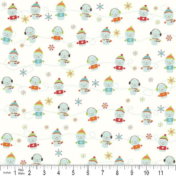 SALE Colorful Christmas by Riley Blake, Snowmen on White Flannel, 34 Inches