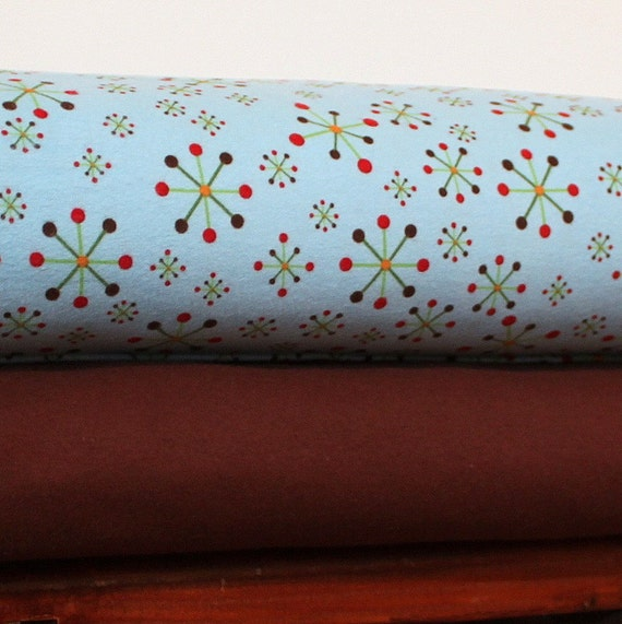 Riley Blake Hooty Hoot Jacks in Blue and Solid Brown Flannel Blanket Bundle, 2 yards
