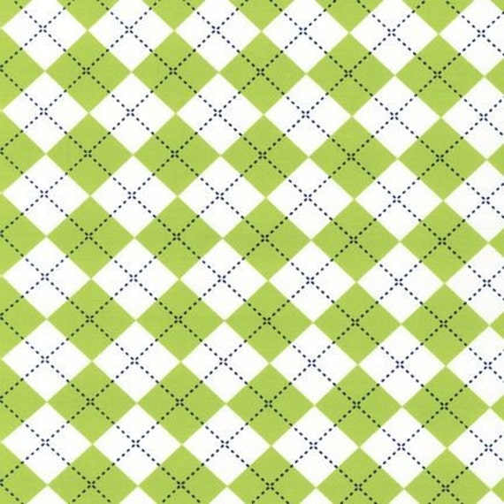 Robert Kaufman Remix Argyle in Lime Green, 1 Yard