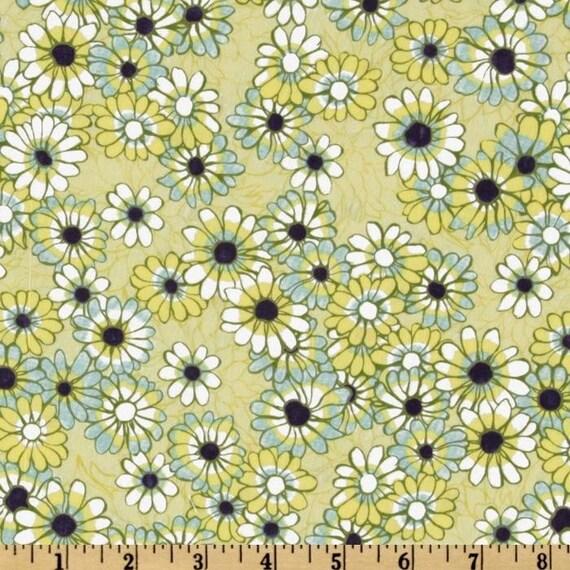 Blue Green and Yellow Daisy Fabric, Ashleighs Garden For Studio-E, Garden Daisy in Green, 1 Yard