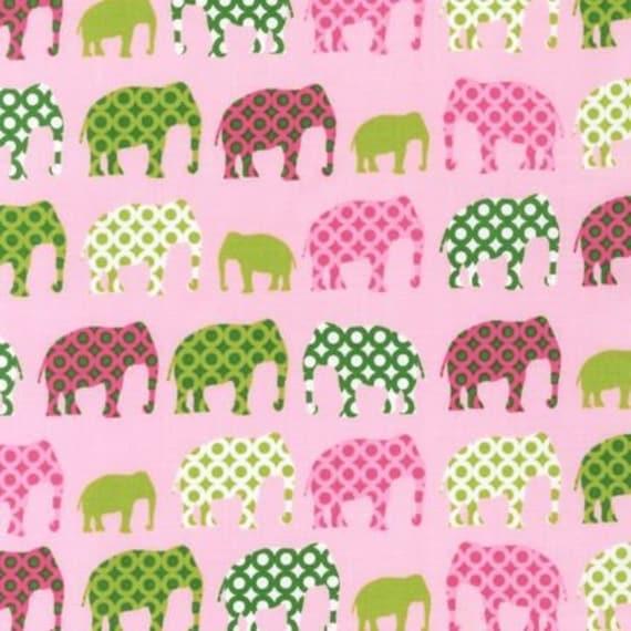 Pink and Green Elephant Fabric, Robert Kaufman Urban Circus in Spring, 1 Yard