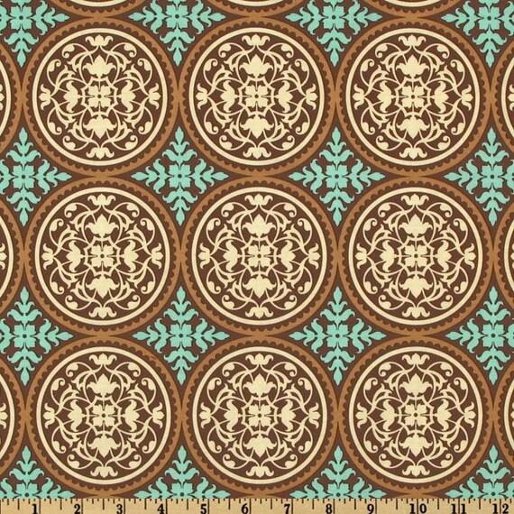 Brown and Aqua Scrollwork Fabric, Aviary 2 By Joel Dewberry for Free Spirit, Scrollwork Print in Carmel, 2 Yards