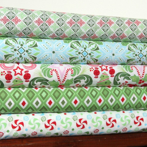 Flurry By Katie Spain For Moda, Fat Quarter Bundle, 5 Prints, 5 Fat Quarters Total