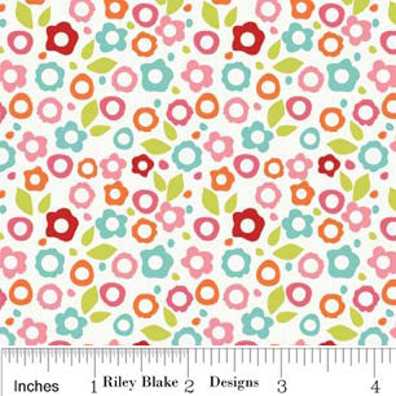 Alphabet Soup Girl By Zoe Pearn for Riley Blake, Floral Girl Print in White, 1 Yard