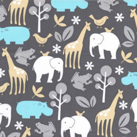 Aqua Tan and Grey Animal Flannel, Zoology Flannel in Sea For Michael Miller, 1 Yard