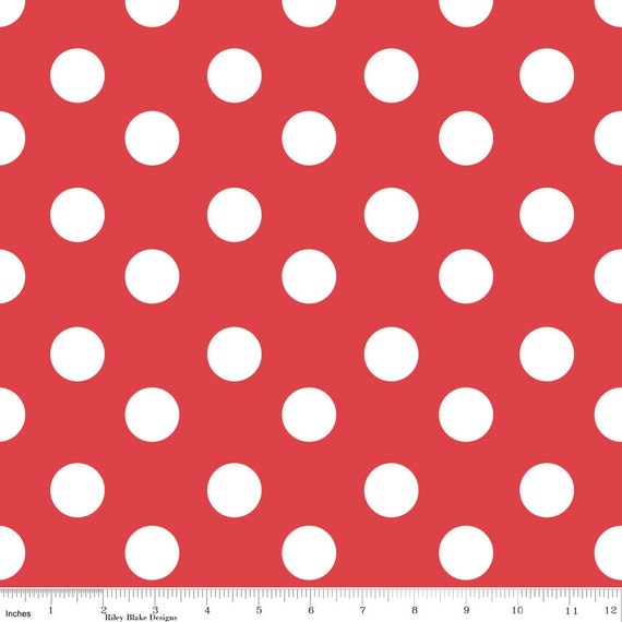 SALE Sugar and Spice for Riley Blake, Sugar Dots Print in Red, 1 yard