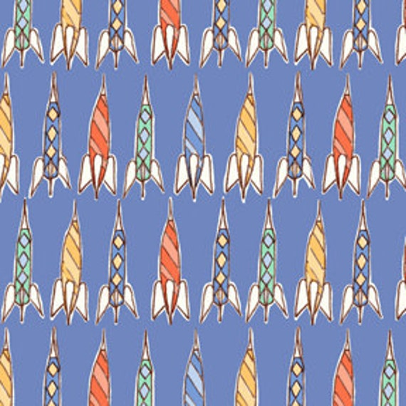 Bright blue rocket fabric children at play over the fence by for Bright childrens fabric
