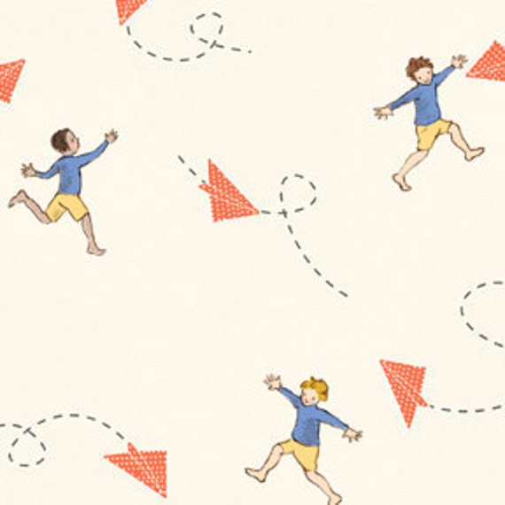 Paper Airplane Fabric, Children At Play Over the Fence By Sarah Jane for Michael Miller, Chasing Airplanes Print in Cream, 1 Yard
