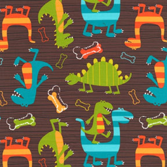 Blue Green and Brown Dinosaur Fabric, Dino Dudes Flannel for Michael Miller, 1 yard