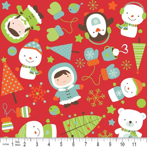 Red Christmas Flannel, Colorful Christmas by Riley Blake, Scatter Print on Red Flannel, 1 Yard