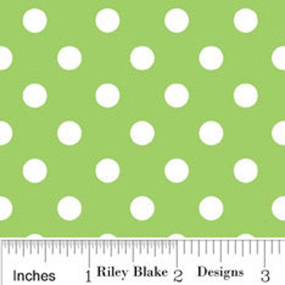Green Polka Dot Christmas Cotton, Christmas Candy by Riley Blake, Green Polka Dot Cotton, 1 Yard