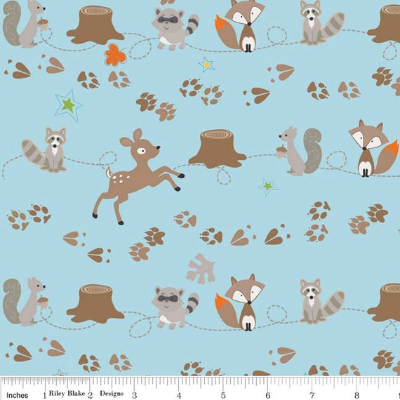 Fox and Raccoon Cotton Fabric, Fox Trails For Riley Blake, Friends Print in Blue, 32 Inches