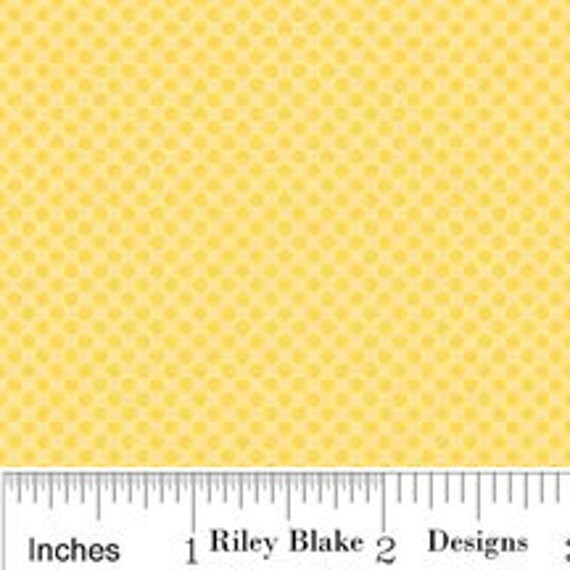 Yellow Polka Dot Cotton, Hoo's In the Forest for Riley Blake, Mini Dot Print in Yellow, 1 yard