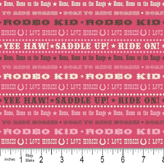 Pink and Brown Cowboy Quotes Fabric, Wanna Be A Cowboy 2 for Riley Blake, Quotes in Pink, 1 yard