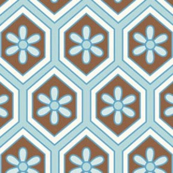 Brown and Blue Geometric Fabric, London By Dena Designs for Free Spirit, Lindsey Honeycomb in Blue, 1 Yard