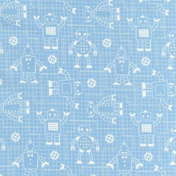 Blue Robot Grid Cotton Fabric, Robot Factory for Robert Kaufman, Grid Print in Aqua, 1 Yard