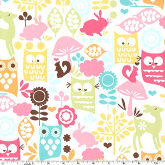 Bright Owl Flannel, Forest Life for Michael Miller in Watermelon, 33 Inches