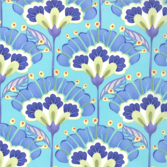 Blue and Aqua Floral Lantern, Good Fortune By Kate Spain by Moda, Lantern Flower Print in Tranqulity Aqua, 31 Inches