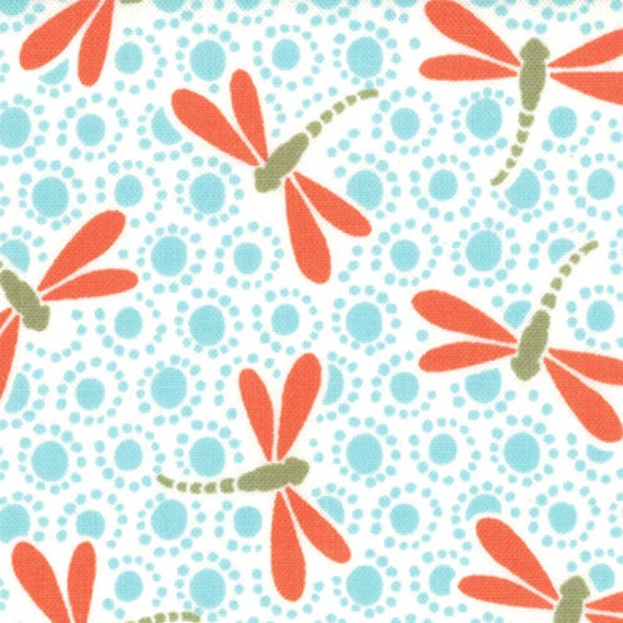 orange and aqua dragonfly fabric good fortune by kate spain