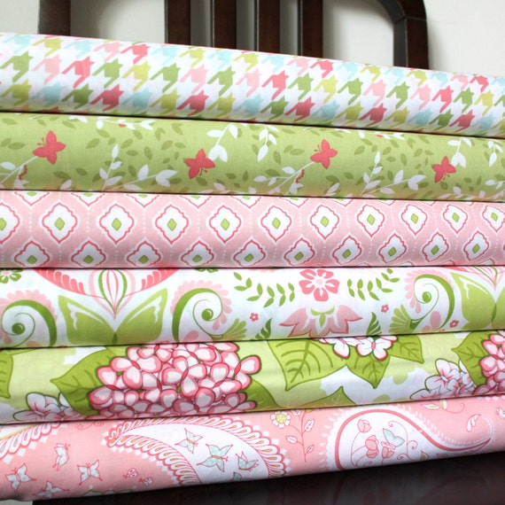 Pink and Green Floral Butterfly Fabric, Bella Butterfly for Michael Miller, Fat Quarter Bundle, 6 Prints Total