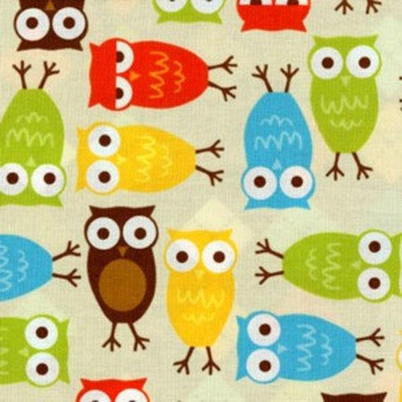 Urban Zoologie by Ann Kelle for Robert Kaufman, Owl Print in Bermuda, 1 Yard