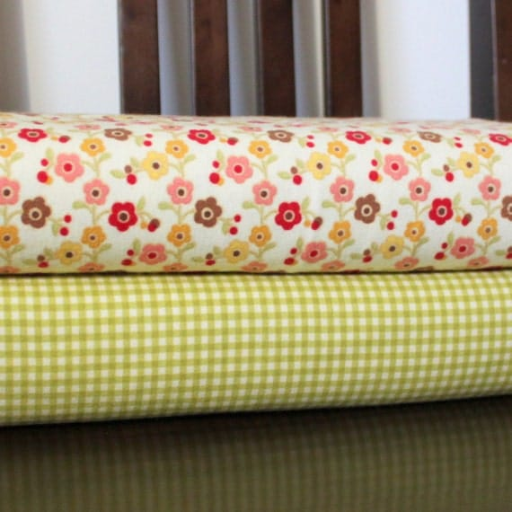 Multi Color Red Pink and Mustard Farmhouse Flower and Green Gingham Flannel Blanket Bundle, 2 Yards