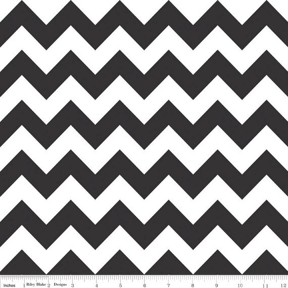 Black and White Chevron Cotton for Riley Blake, 1 Yard