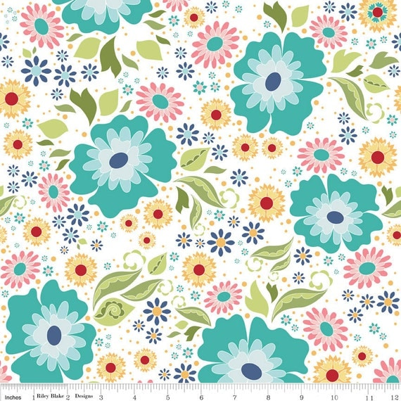Pink Aqua and Yellow Floral Fabric, Apple of My Eye by The Quilted Fish for Riley Blake, Main Print in White, 1 Yard