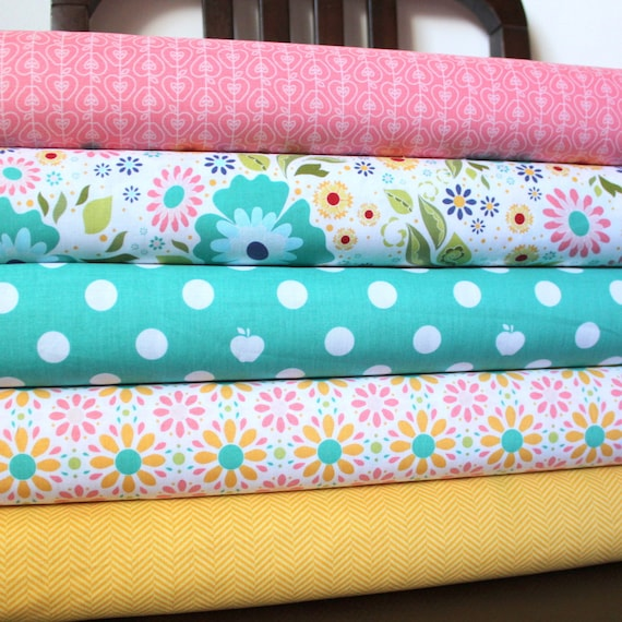 Pink Aqua and Yellow Floral Fabric, Apple of My Eye by The Quilted Fish for Riley Blake, Fat Quarter Bundle, 5 Prints Total