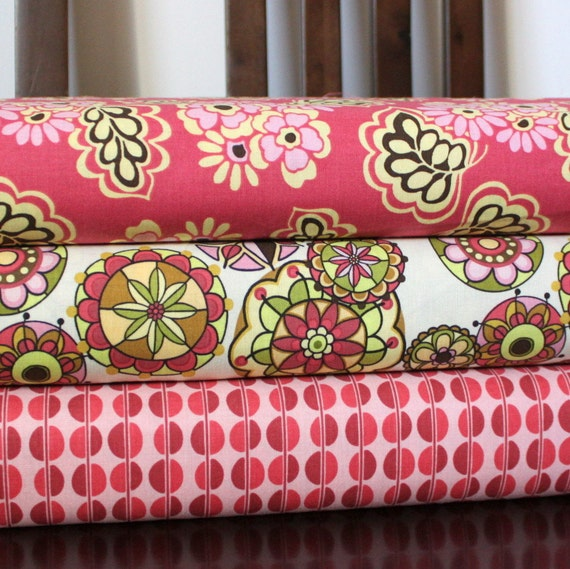 Pink Brown and Cream Floral Cotton, Fiona's Fancy By Lila Tueller for Riley Blake, Fat Quarter Bundle, 3 Prints Total