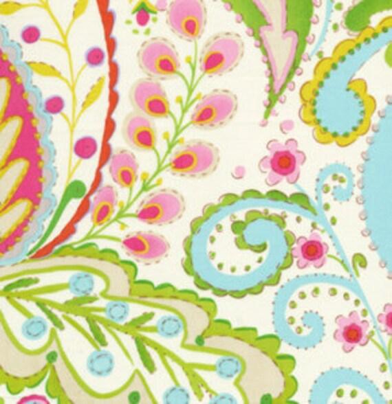 Pink and Blue Flourish Fabric, Kumari Garden By Dena Designs for Free Spirit, Teja Print in Pink, 1 Yard