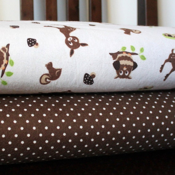 Deer and Owl Toss and Brown Dot Flannel Blanket Bundle, 2 yards