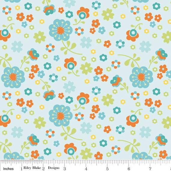 Aqua and Orange Floral Fabric, Dress Up Days For Riley Blake, Floral Print in Aqua, 1 Yard