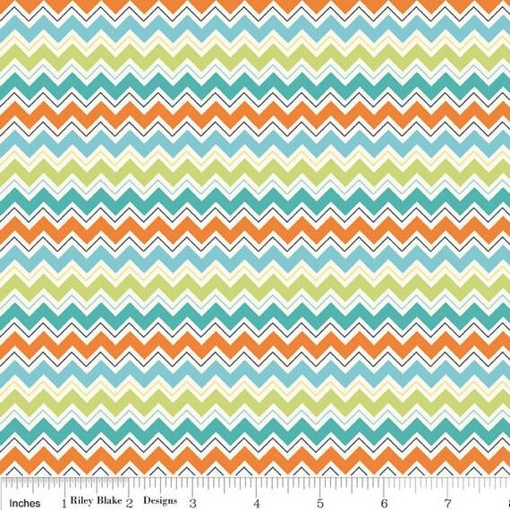 Aqua and Orange Chevron Fabric, Dress Up Days For Riley Blake, Chevron Print in Aqua, 1 Yard