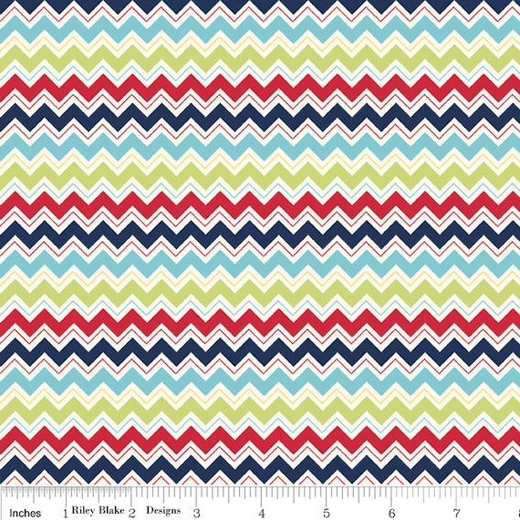 Blue Red and Green Chevron Fabric, Dress Up Days For Riley Blake, Chevron Print in Blue, 1 Yard