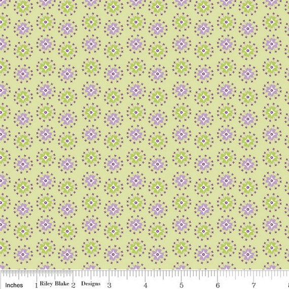 Green and Purple Jacks Floral Fabric, Dress Up Days For Riley Blake, Jacks Print in Green, 33 Inches