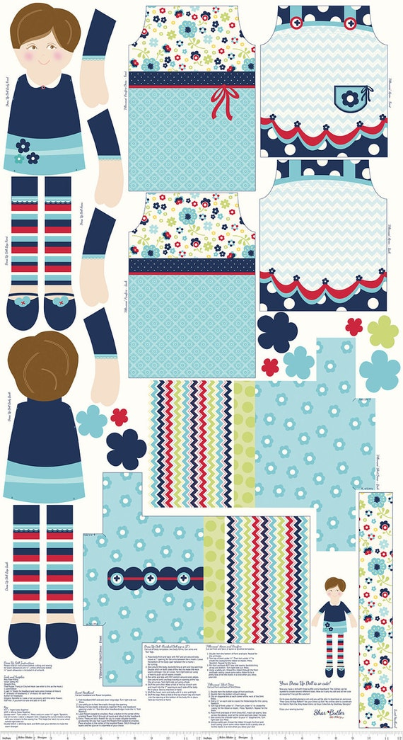Blue and Red Doll Panel Fabric, Dress Up Days For Riley Blake, Panel in Blue, 24 Inches