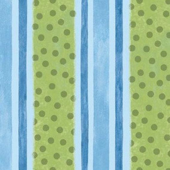 Springs Creative Dino Roars Blue and Green Stripe Flannel, 1 Yard