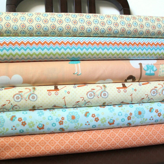 Orange and Aqua Girly Dress Up Fabric, Dress Up Days For Riley Blake, Fat Quarter Bundle, 6 Prints Total