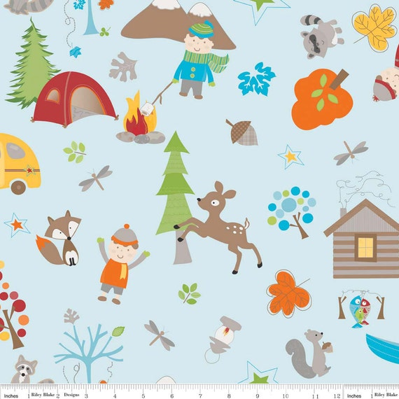 Blue Fox Outdoor Animal FLANNEL, Fox Trails For Riley Blake, Main Print in Blue Flannel, 1 yard