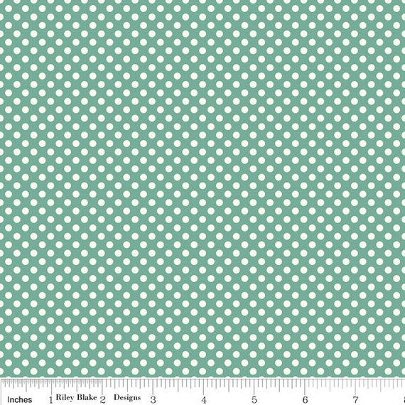 Teal and Cream Polka Dot Fabric, Verona by Emily Taylor for Riley Blake, Dot Print in Teal, 1 Yard