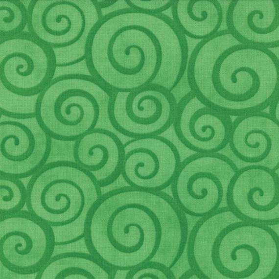 Green Tonal Swirl Fabric, Ready Set Snow From Me and My Sister for Moda, Snow Swirls Print in Everygreen, 1 yard