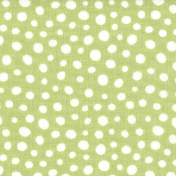 Light Green and White Polka Dot Fabric, Joy By Kate Spain for Moda, Christmas Snow Falling in Holly Green, 1 yard