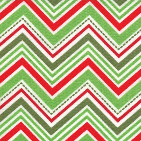 Red and Green Chevron Fabric, Joy By Kate Spain for Moda, Tree Line in Holly Berry, 1 yard