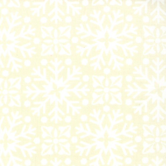 White Natural Tone On Tone Snow Flake Damask Fabric Joy By