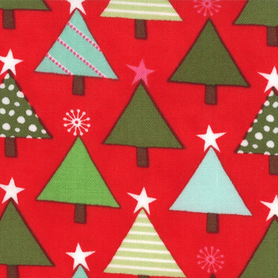 Red and Green Christmas Tree Fabric, Joy By Kate Spain for Moda, Tannenbaum in Berry, 1 yard