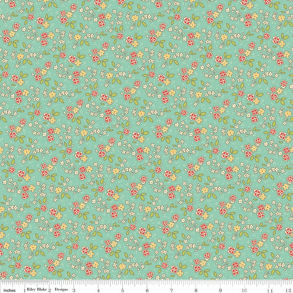 Aqua Red and Yellow Vintage Floral Fabric, Seaside by October Afternoon for Riley Blake, Chair Print in Blue, 1 Yard