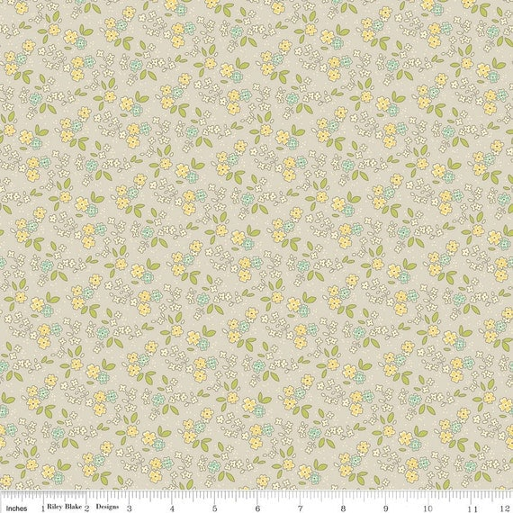 Grey Aqua and Yellow Vintage Floral Fabric, Seaside by October Afternoon for Riley Blake, Chair Print in Grey, 1 Yard