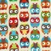 Bright Owl By Alice Kennedy for Timeless Treasures, Bright Owl Print, 1 Yard